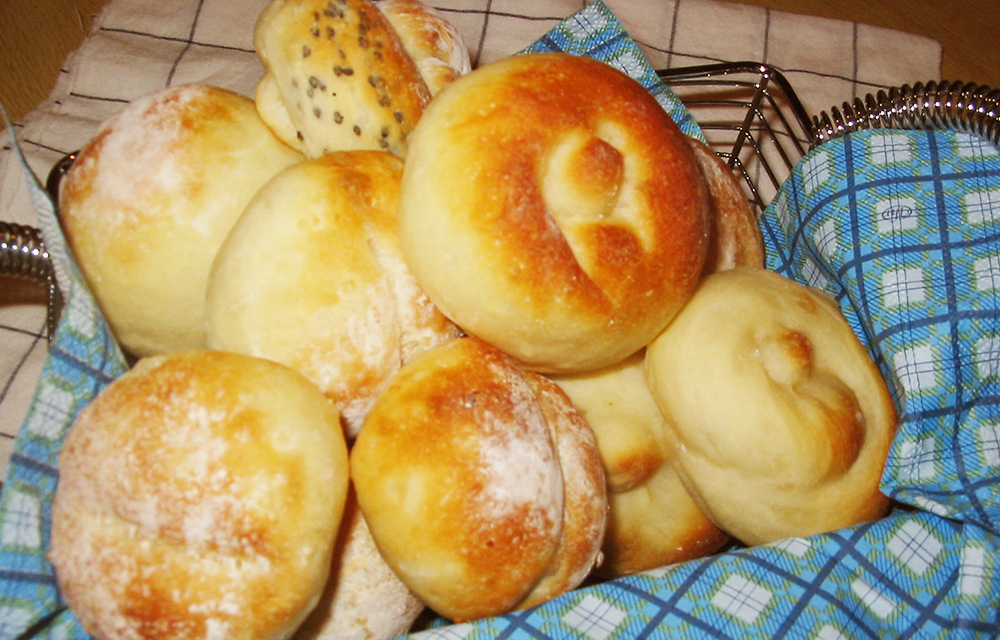 Homemade baked bread is recommended